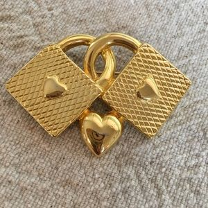 Gold Hearts Pin Brooch Two Heart Baskets One Ctr